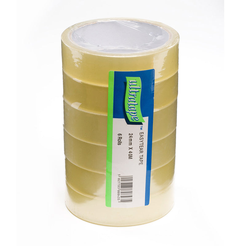 Clear 40m pack of 6 easytear tape tower by Ultratape.