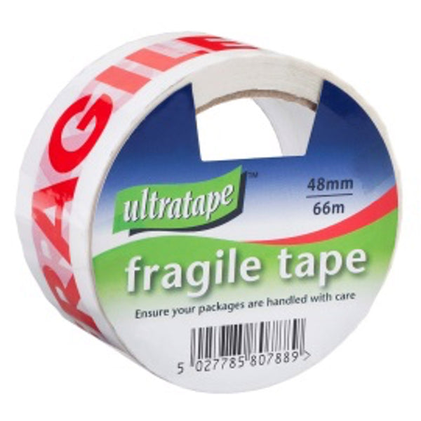 48mm x 66m Red/White 'FRAGILE' Tape - Pack of 6