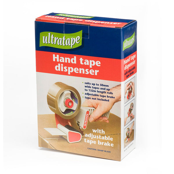 Ultratape hand tape dispenser with adjustable tape brake box.