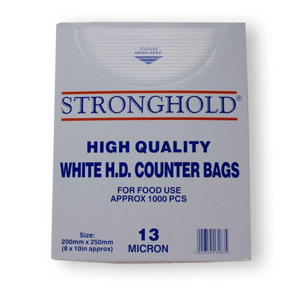 Stronghold high quality white HD counter bags in box.
