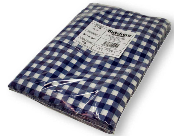 Wrapped blue gingham vacuum pouches packed.