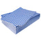 Stack of blue gingham sheets on top of one another.