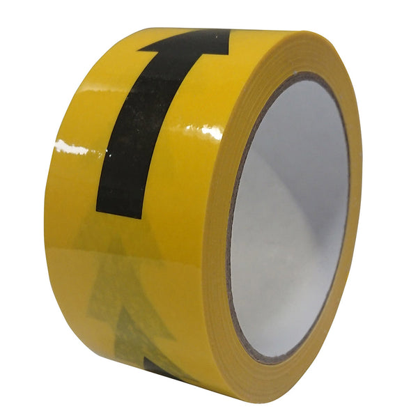 Black/yellow 33m tape with arrows on a roll.
