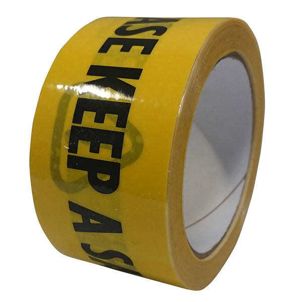 'PLEASE KEEP A SAFE DISTANCE' Black/Yellow Tape - 48mm x 33m