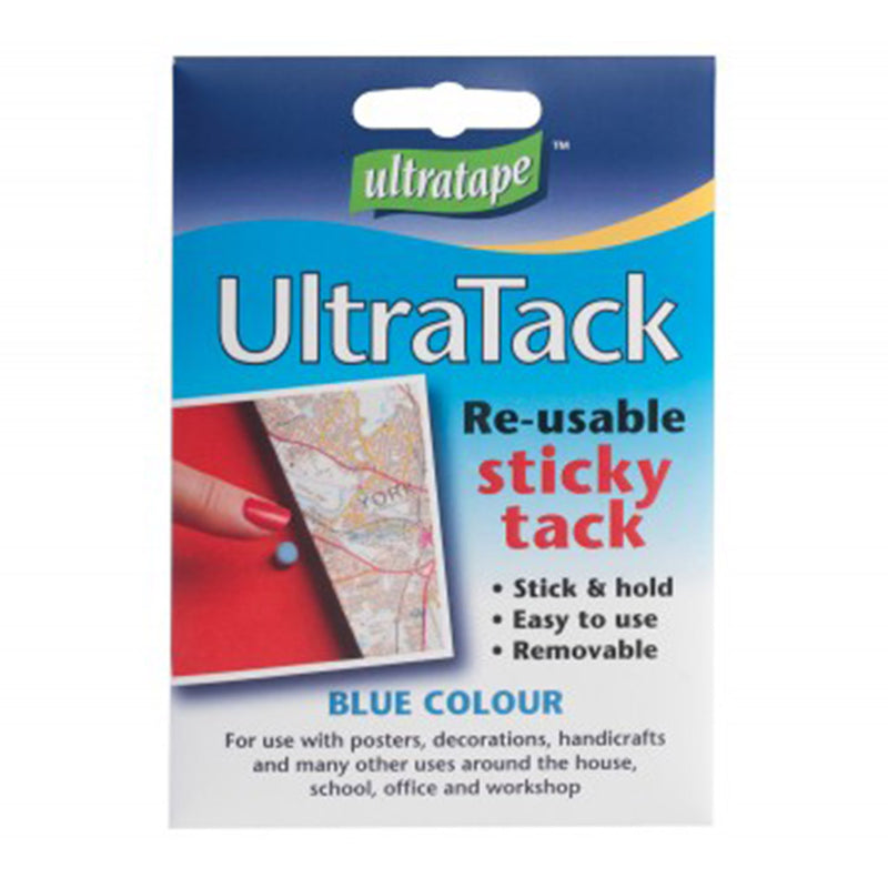 Ultratape ultratack re-usable blue sticky tack packaging.