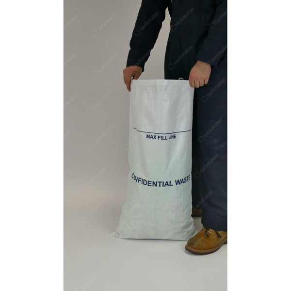 Confidential Waste White Woven Polypropylene Sacks (50 x 90cm) – Pack of 100