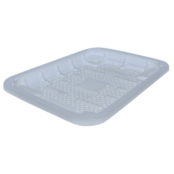 Large rectangular recyclable clear food tray.