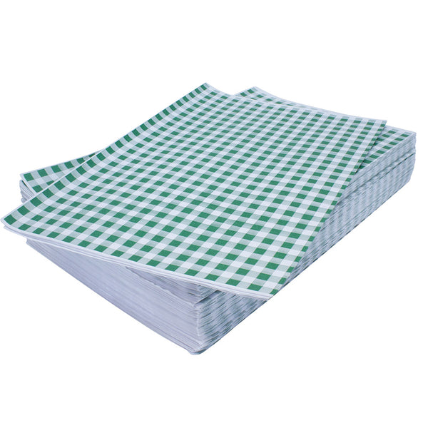 Stack of green gingham sheets on top of one another.