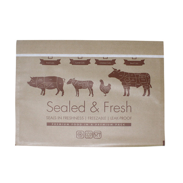 Large sealed and fresh recyclable brown counter bag.