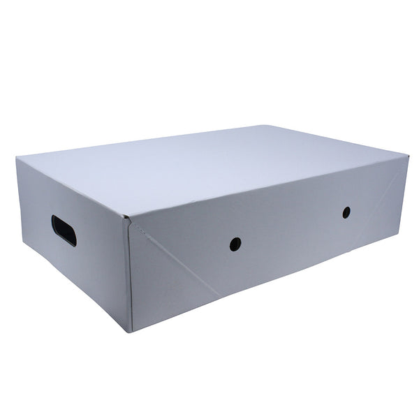Erected white meat box with handle.