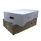 Erected white meat box lid and brown base.
