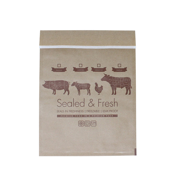 Medium sealed and fresh recyclable brown counter bag.