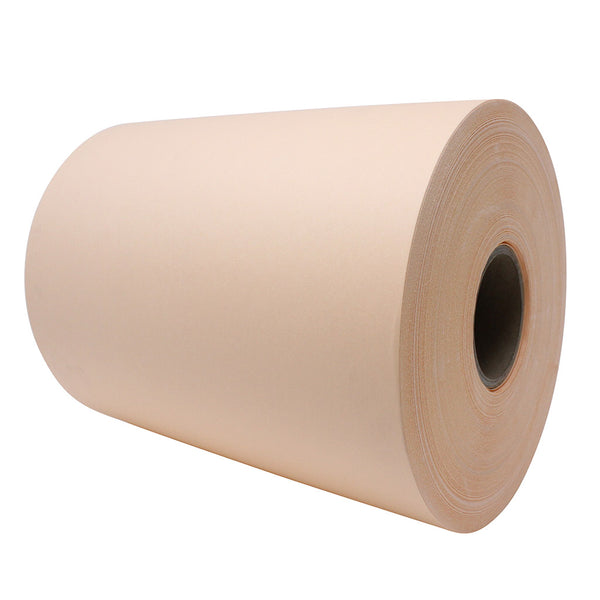 Side view of a large peach paper roll.