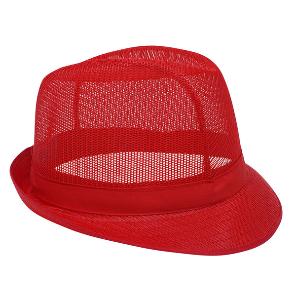 Red Nylon Trilby Hat - Medium