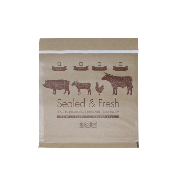 Small sealed and fresh recyclable brown counter bag.