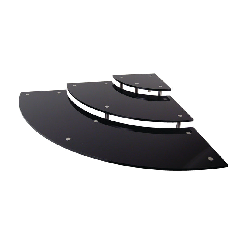 3-Tier Curved Display Tray Platter Riser System - Black Acrylic