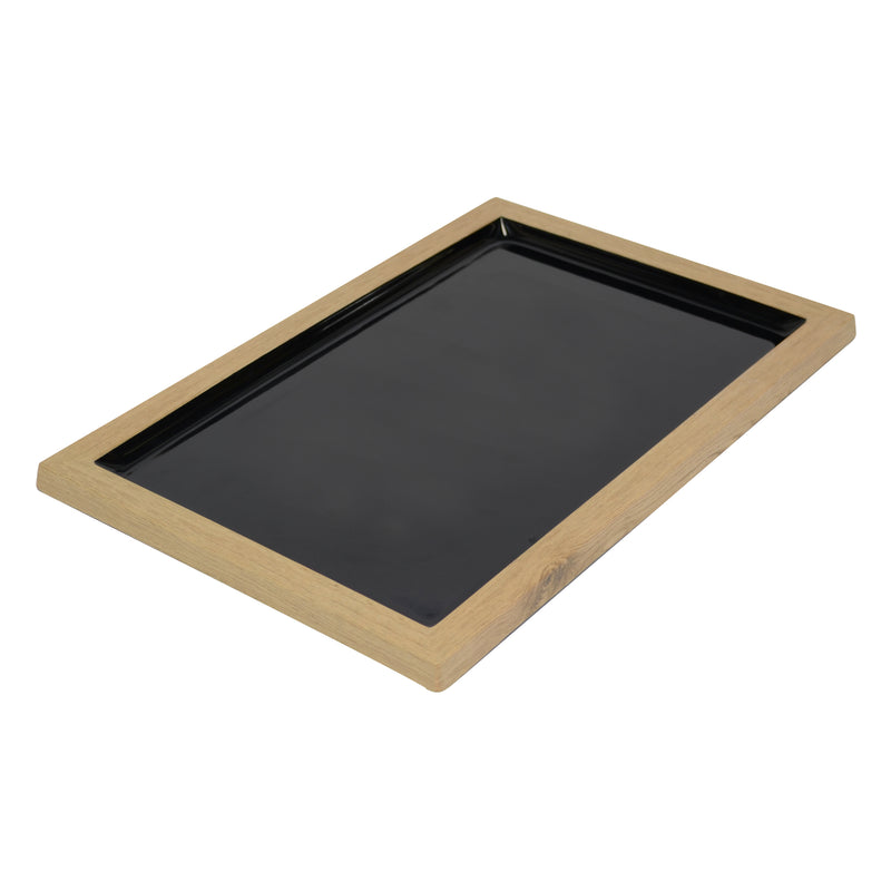 420 x 280 x 21mm Tray - Wood & Black Melamine