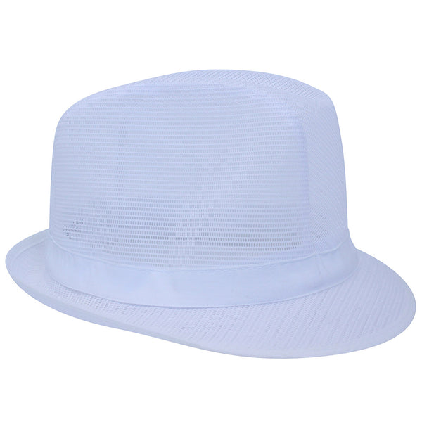 White Nylon Trilby Hat - Medium