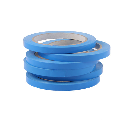 Stack of 6 blue bag sealing tapes on rolls.