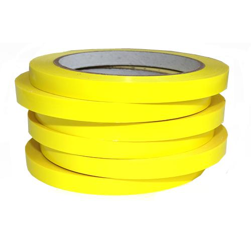 Stack of 6 yellow bag sealing tapes on rolls.