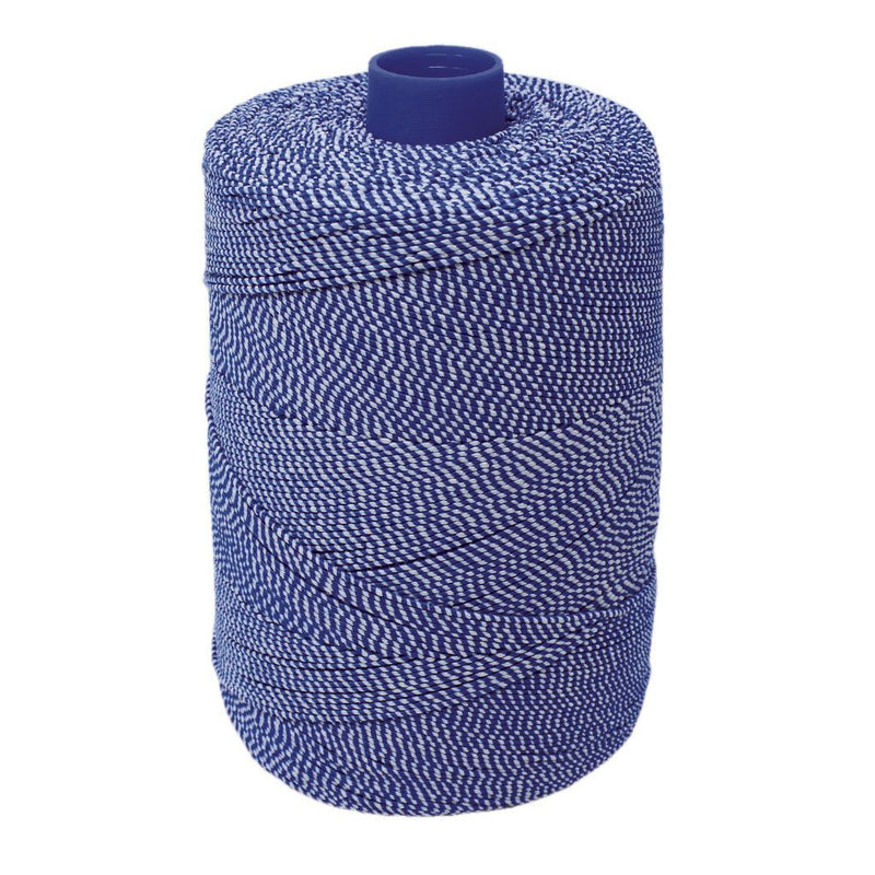 Blue/White Elasticated Machine String/Twine  Size in 1,754m/kg (800g). From £8.00 per spool