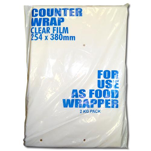 White bag of clear film counter wrap.