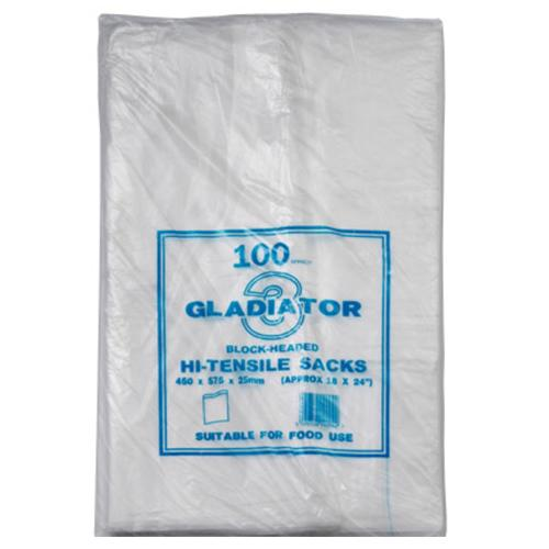Gladiator hi-tensile block-headed clear sacks.