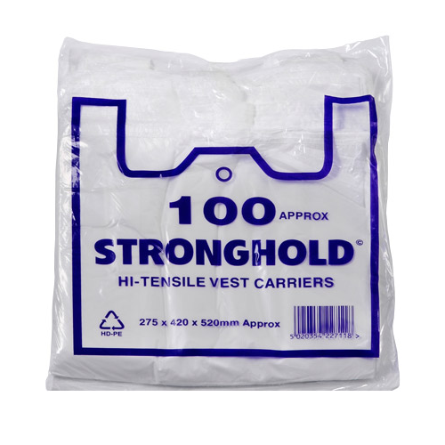 White Vest Carrier Bags Box of 2000