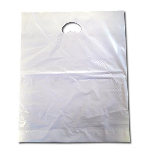 White vari-gauge carrier bag with handle.