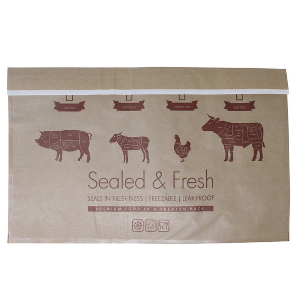 Extra large sealed and fresh recyclable brown counter bag.