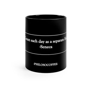 """Separate Life"" Black Mug 11oz - PHILOSOCOFFEE"