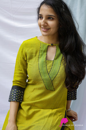 Olive Lemon Cotton Kurti