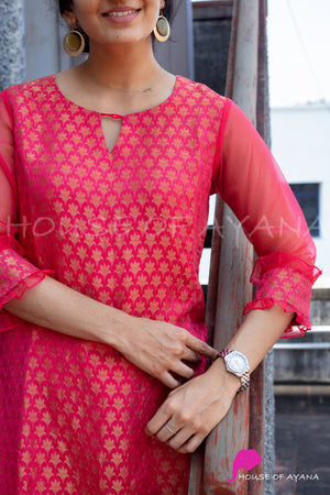 Watermelon Sugar Georgette Kurti