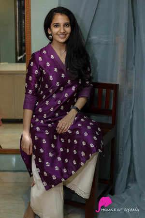 Lilac Rawsilk Embroidered Kurti