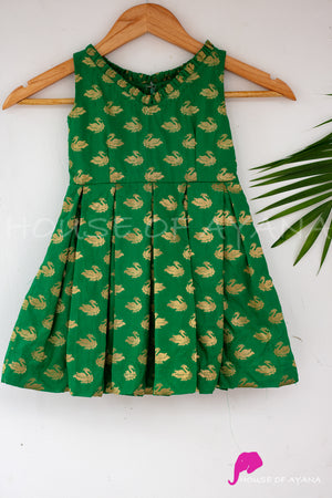 Green Swan Maxi Pleated Dress