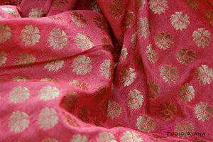 Peach with gold zari silk brocade