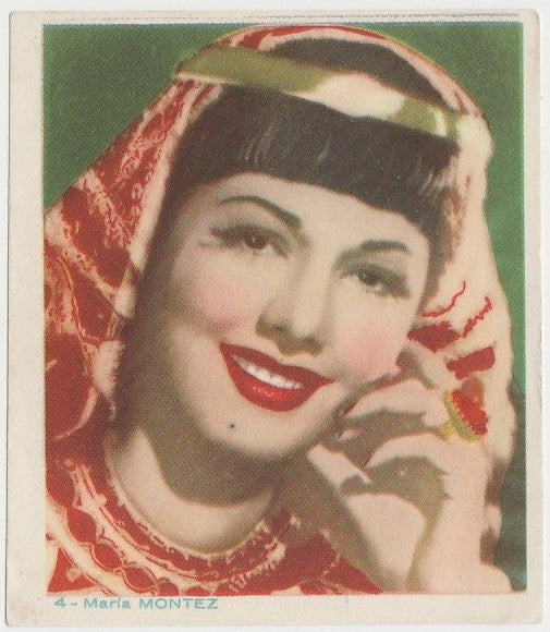 Maria Montez Late 1930s Colorful Paper Stock Trading Card #4 Blue Text