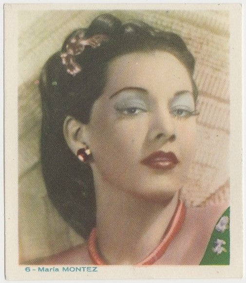 Maria Montez Late 1930s Colorful Paper Stock Trading Card #6 Blue Text