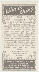 Elizabeth Allan 1936 Ardath Who Is This Trading Card #1