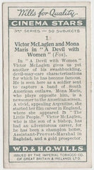 Victor MacLaglen + Mona Maris 1931 Wills Cinema Stars Trading Card #1