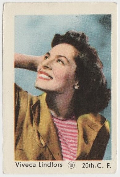 Viveca Lindfors 1952 Maple Leaf Gum Film Star Paper Stock Trading Card #10