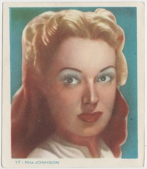 Rita Johnson Late 1930s Colorful Paper Stock Trading Card #17 Blue Text