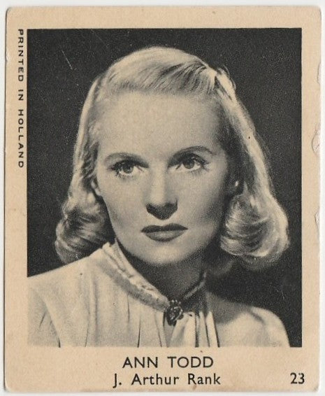 Ann Todd 1954 Klene VAL Bubble Gum Dutch Trading Card #23