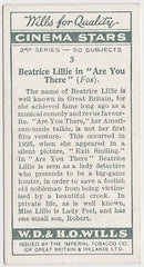 Beatrice Lillie 1931 Wills Cinema Stars Trading Card #3