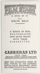 Evelyn Kelly 1937 Carreras Film Stars Trading Card #3