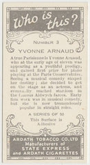 Yvonne Arnaud 1936 Ardath Who Is This Trading Card #3