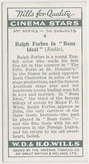 Ralph Forbes 1931 Wills Cinema Stars Trading Card #4