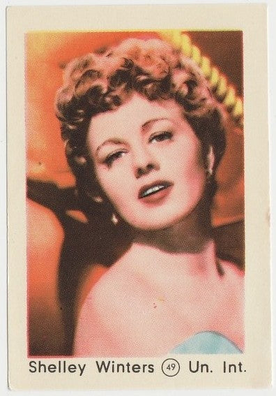 Shelley Winters 1952 Maple Leaf Gum Film Star Paper Stock Trading Card #49