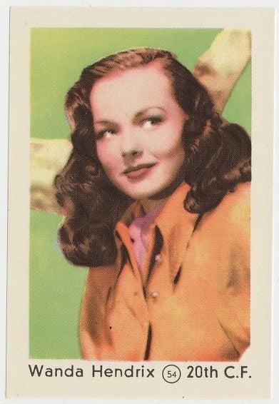 Wanda Hendrix 1952 Maple Leaf Gum Film Star Paper Stock Trading Card #54