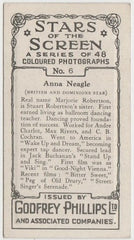 Anna Neagle 1936 Godfrey Phillips Stars of the Screen Trading Card #6